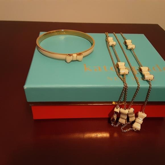 kate spade Jewelry - Kate Spade enamel bow necklace and bracelet set